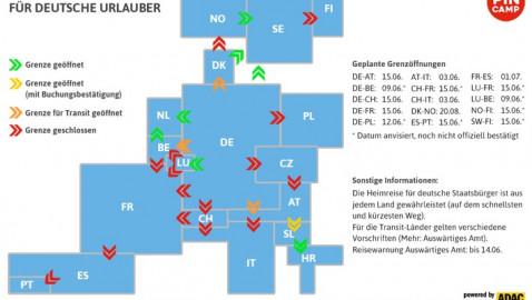 Wohin können deutsche Urlauber reisen? PiNCAMP veröffentlicht aktuelle Öffnungstermine für Grenzen in Deutschland und Europa (FOTO)